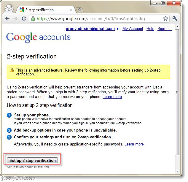 google accounts 2 step verification