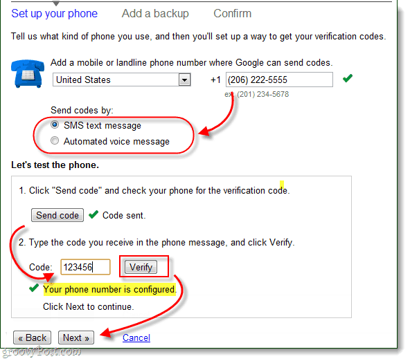 add a verification phone number, for sms or voice message