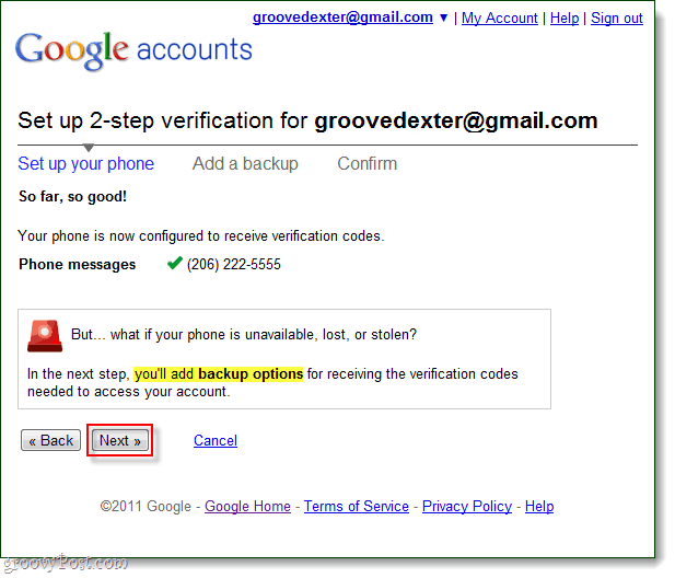 add google 2-step verification backup options