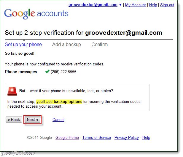 add google 2-step verification backup options