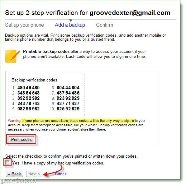 2-step verification bakup codes