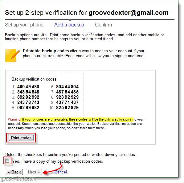 2-step verification bakup codes