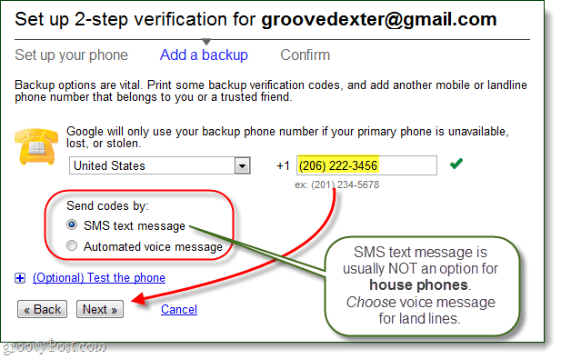 backup phone number google account security