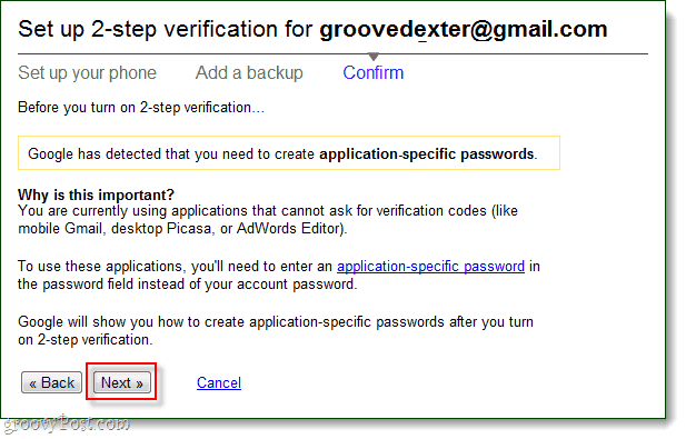 confirm you will use application-specific passwords