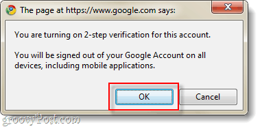 confirm turn on 2-step verification for Google