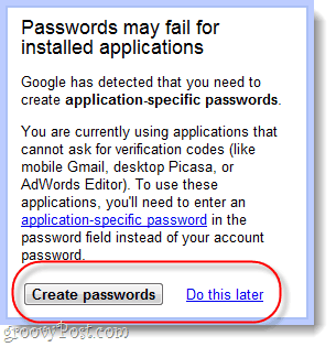 password specific application passwords
