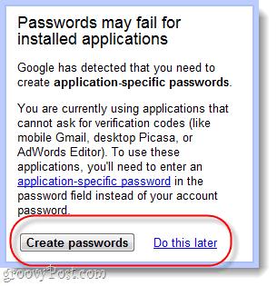 password specific application passwords