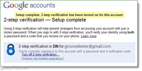 2-step verification complete - google