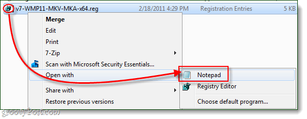 edit registry file with notepad