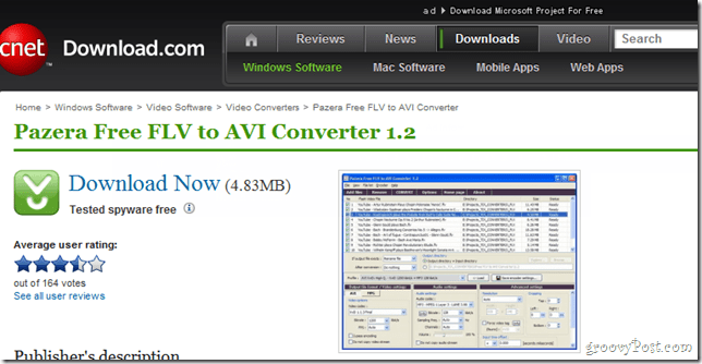Panzera FLV to AVI Downloader