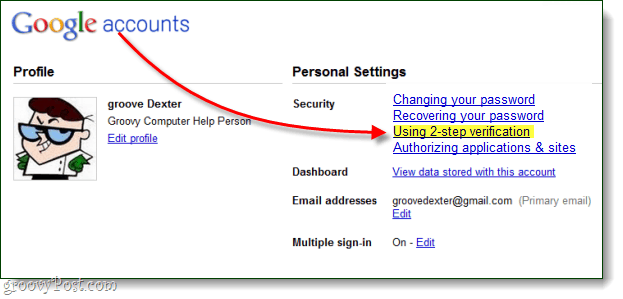 your google account management page