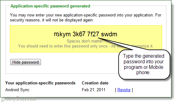 an applicaction-specific password generated by google for your account