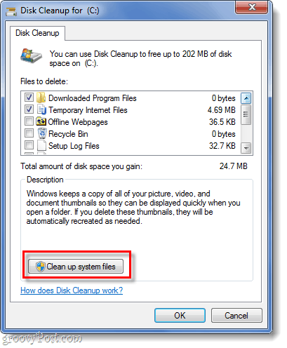 clean up systme files in windows 7