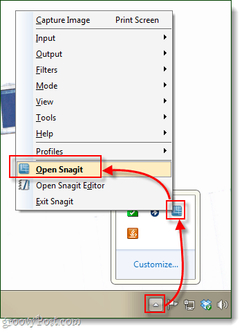 open snagit from windows 7 system tray