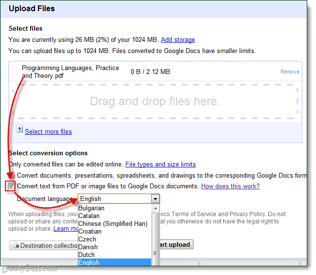 Upload files to Google Docs via OCR for your language