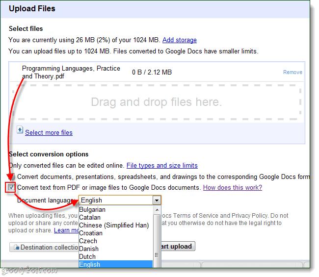 Upload files to Google Docs via OCR for your language