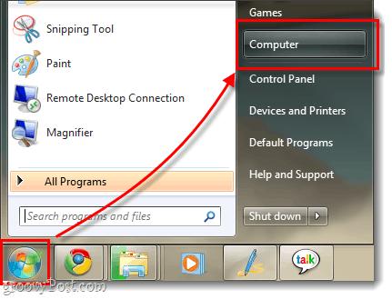 Windows 7 my computer menu and showing start menu orb