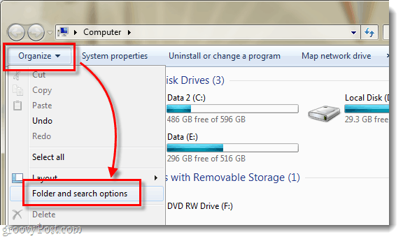 windows 7 explorer organize and oflder and search options
