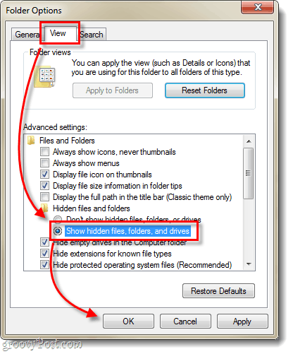 view and show hidden files, folders and drives