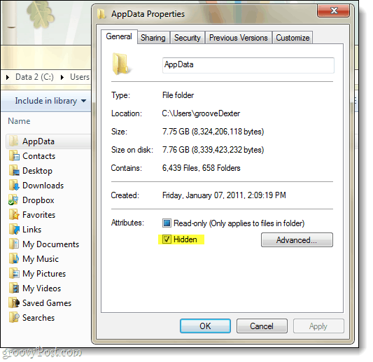 hidden app data in windows 7