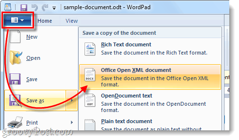 save odt file as open xml document