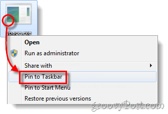 pin exe file to taskbar windows 7