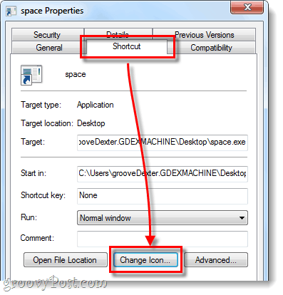 change taskbar shortcut icon windows 7