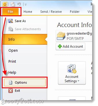 file menu ribbon in outlook 2010