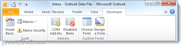 office 2010 developer ribbon enabled