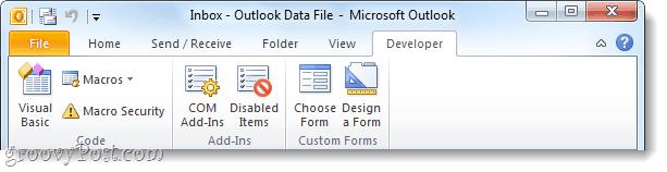 office 2010 developer ribbon enabled