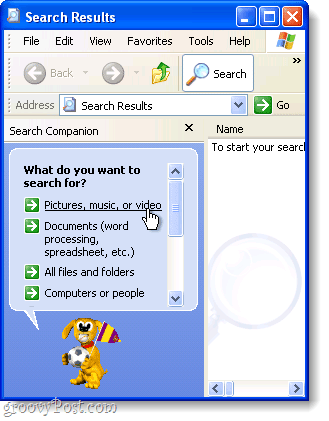 windows xp advanced search