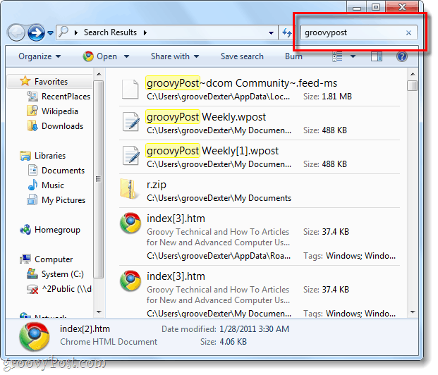 advanced search in windows 7
