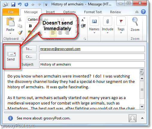 sending an email in outlook 2010 doesn't mean it is delivered immediately