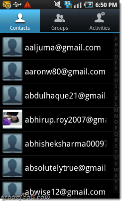 tons of email contacts in an android phone