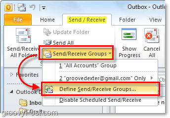 send receive groups in outlook 2010