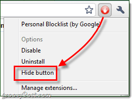 hide button google chrome extension