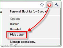 hide button google chrome extension