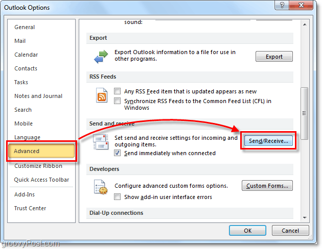advanced send and receive options in outlook 2010
