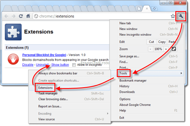 Google Chrome manage extensions return red button