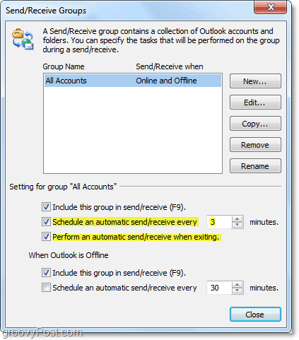 edit the auto send and receive time in Outlook 2010