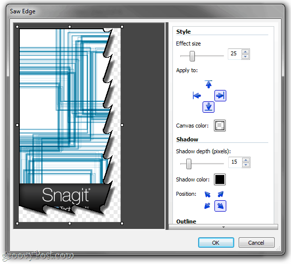 mass shadow with snagit