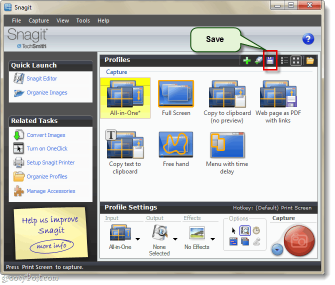 save your new snagit profile settings