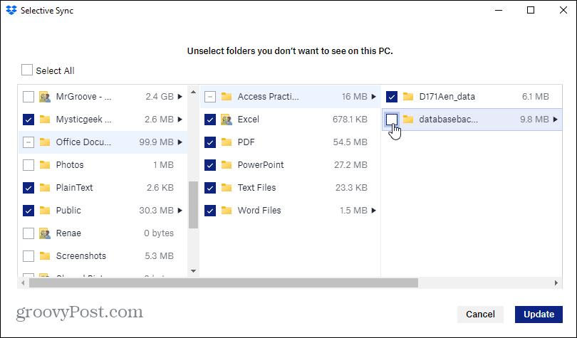 choose selective sync folders dropbox