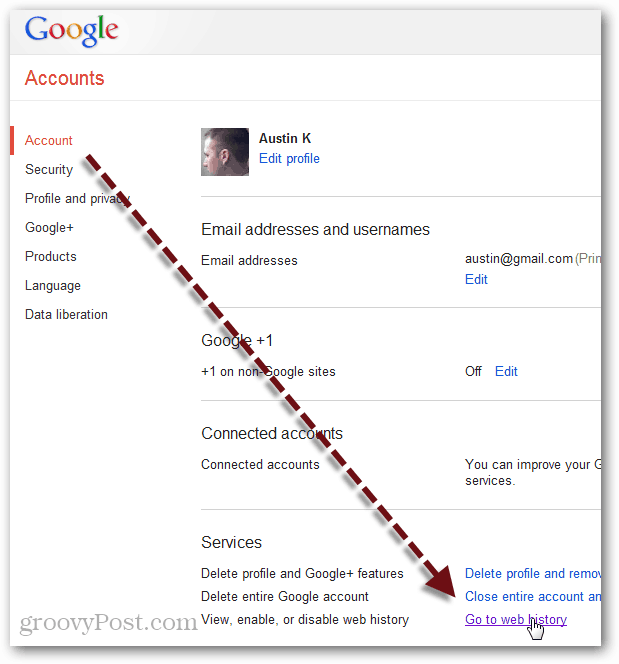 remove web history permanently from Google account