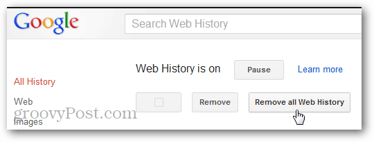remove web history confirmation from google account