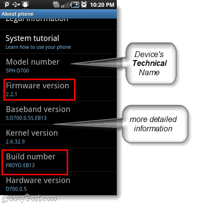 android firmware and build number, model number too