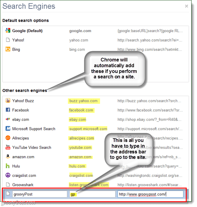 chrome automatically generates other search engines but you can enter your own