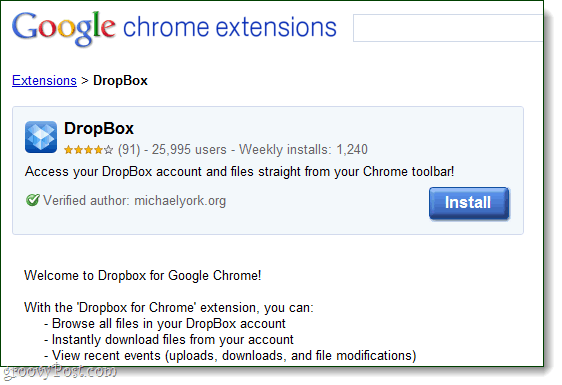 Dropbox for google chrome as an extension by michaelyork.org