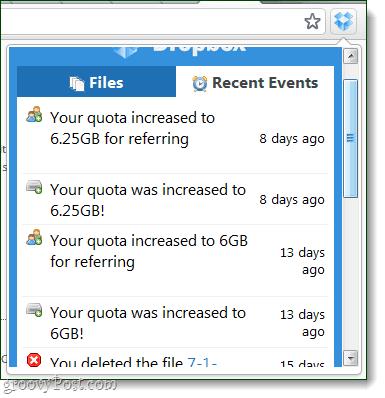 dropbox extension recent events