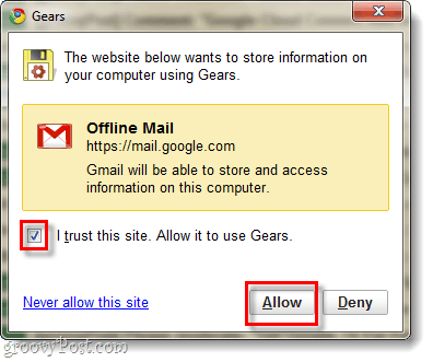 Allow gmail to access google gears